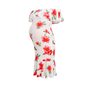 Maternity Ruffle White Floral Print Slash Neck Dress