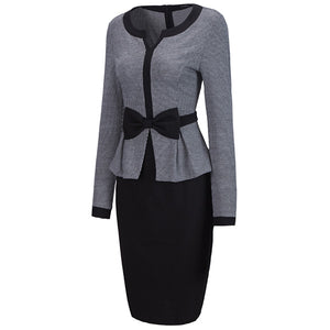 Office Split Neck Bowknot Bodycon Dress