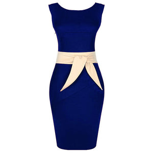 Round Neck Color Block Bowknot Bodycon Dress
