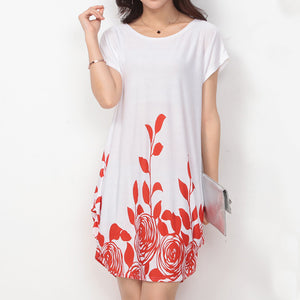Flower Pattern Round Collar Dress