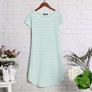 Light Green Stripes Women Summer Elegant Dress