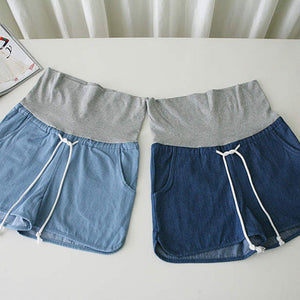 Maternity Lace-Up Casual Jeans Shorts