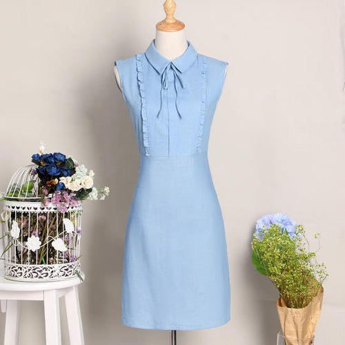 Blue Turnover Collar Cotton Summer Women Dress