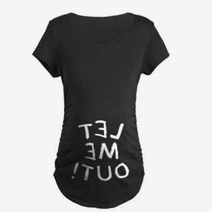 Let Me Out Letter Print Maternity Tee