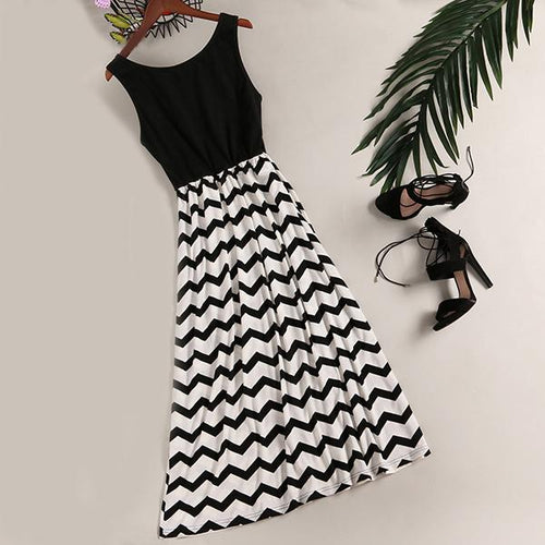 Black Wave Prints Women Beach Dress