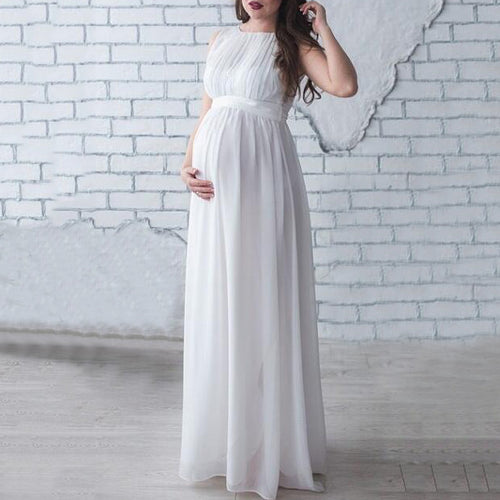 Maternity Sleeveless Chiffon Full Length Dress