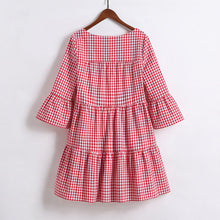 Mom Girl Plaid Ruffle Sleeve Tiered Dress