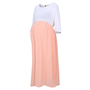 Chiffon Colorblock Plus Maternity Maxi Dress