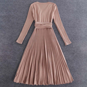 Sexy V Neck Solid Pleated Knitted Skater Dress