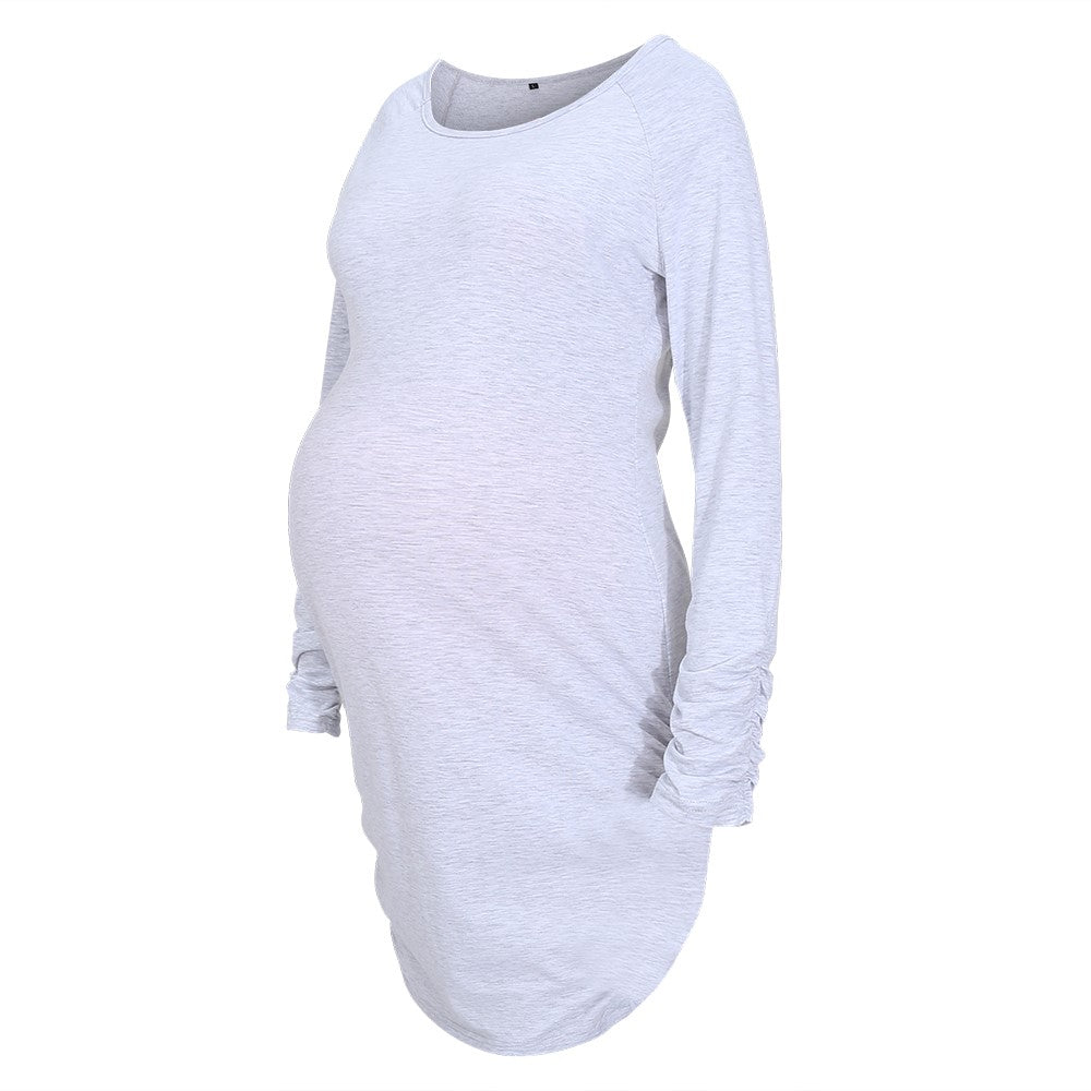 Heather Grey Long Sleeve Fitted Maternity Dress