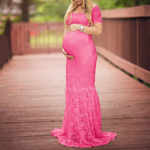 Maternity Lace Patchwork V-Neck Maxi Dress