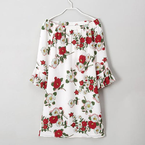 Off The Shoulder Flowers Trumpet Sleeve Women Dress