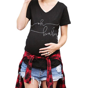 Simple Letter Print Maternity T-Shirt