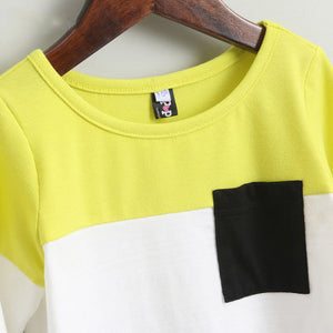 Color Block Pocket Casual Dress
