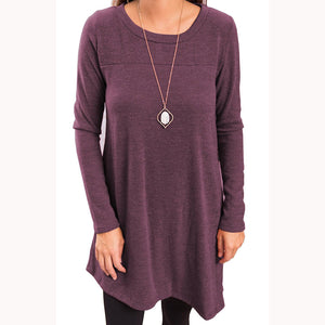 Long Sleeve Irregular Hem Pullover Without Necklace
