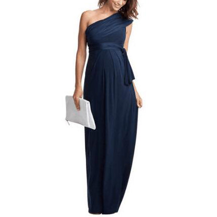 Maternity One Shoulder Bow Tie Full Length Dress
