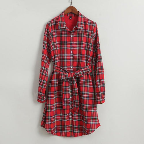 Plaid Self Tie Shirt Women Dress