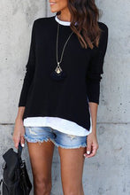 Round Neck  Patchwork  Color Block T-Shirts