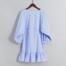 Stripes Ruffle Hem Pompon Decorated Women Dress