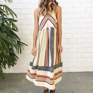 Maternity Casual Stripe Sleeveless Tea-Length Dress