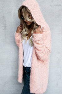 Hooded Plain Artificial Fur Coat