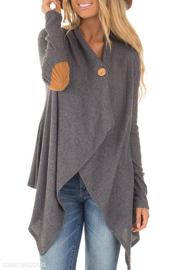Asymmetric Hem Single Button  Patchwork Cardigans