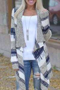 Asymmetric Neck Striped Cardigans