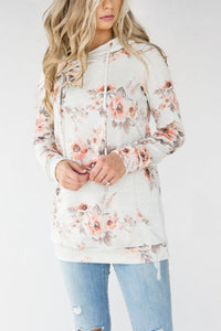 Hooded  Drawstring  Floral Printed Hoodies