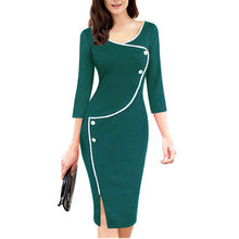 Vintage Split Bottom O-Neck Bodycon Dress Plus Size