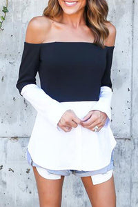 Off Shoulder Asymmetric Hem Color Block T-Shirts
