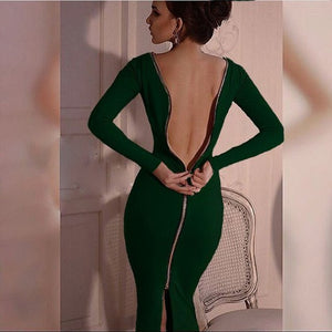 Sexy Back Full Zipper Robe Bodycon Sheath Dress Party Dresses