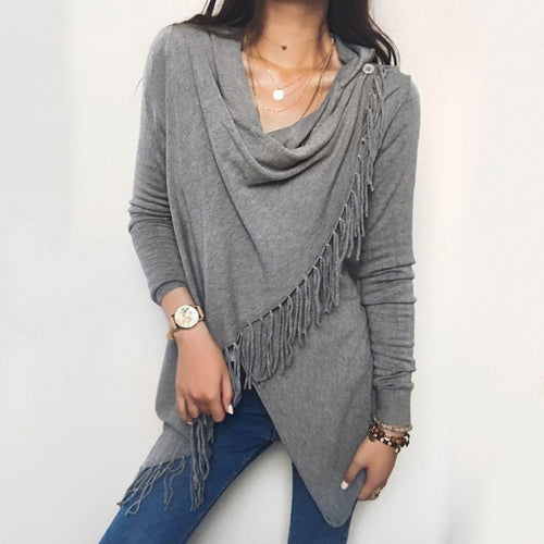 Cowl Neck Tassels Pullover