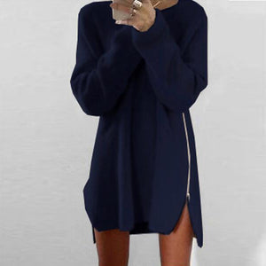 Round Neck Asymmetric Hem Side Slit Zipper Plain Casual Dresses