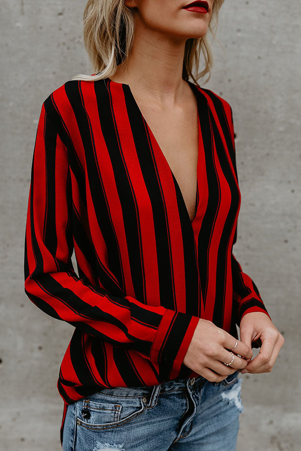 Deep V Neck  Asymmetric Hem  Vertical Striped  Blouses