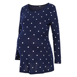Polka Dot Suede Elbow Knit Maternity Sweater