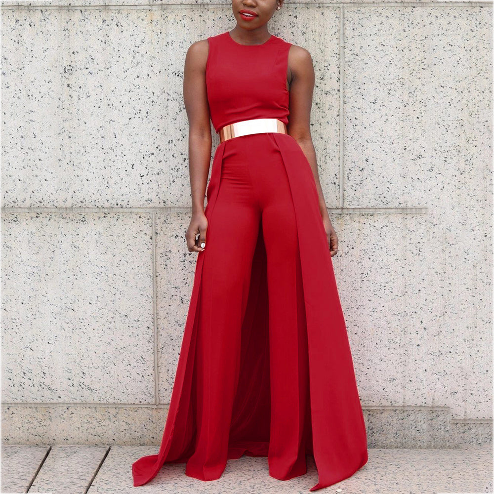 Sleeveless Red Loose Jumpsuit