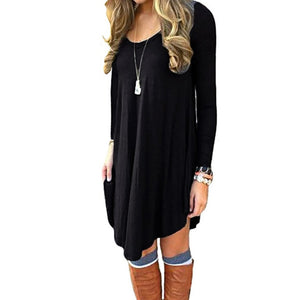 Long Sleeve Casual Loose T-Shirt Dress