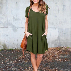 Fashion V-Neck Side Pocket Short Dress