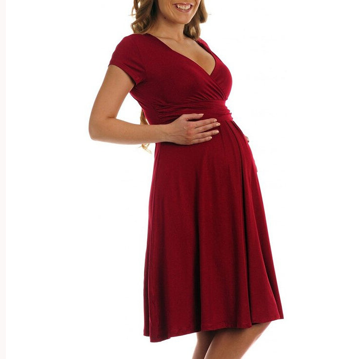 Maternity Surplice Wrap Knee-Length Nursing Dress