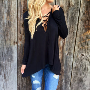Deep V-Neck Asymmetric Hem Lace Up Plain T-Shirts