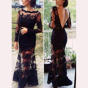 Lace Embroidery Sexy Halter Evening Dress