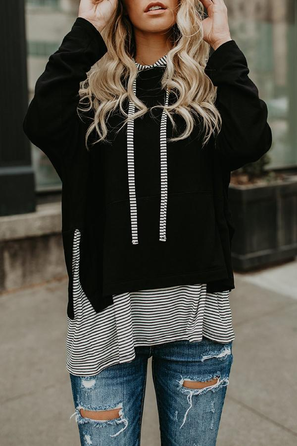 Drawstring Patchwork  Color Block Striped Hoodies