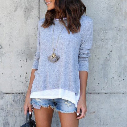 Long Sleeve Fake-Two-Piece Pullover