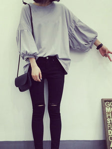 Round Neck  Plain  Puff Sleeve Long Sleeve T-Shirts