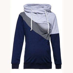 Maternity Multifunctional Color Block Nursing & Feeding Hoodie
