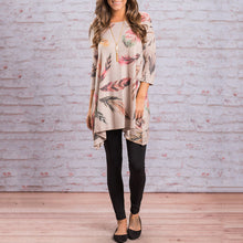 Feather Pattern 3/4 Sleeve Asymmetrical Short Dress