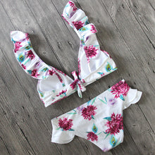 White Floral Printed Lotus Leaf Bikini