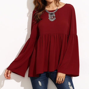 Round Neck Plain Kimono Sleeve Long Sleeve Long Sleeve T-Shirts