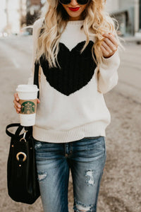 Round Neck Heart Sweaters