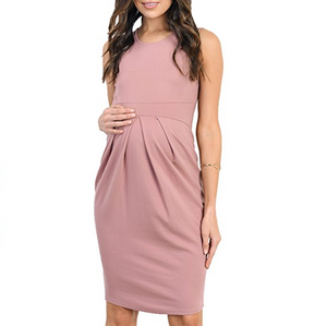 Maternity Front Pleated Sleeveless Midi Dress